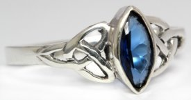 Ring Rigani Celtic Trinity Blauer Kristall Silber